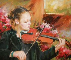 Learning The Violin Painting by Conor McGuire
