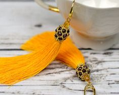 Wedding earrings tassel earrings yellow earrings beaded dangle earrings bridal earrings long earrings fringe earrings statement earrings