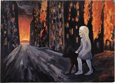 Peter BOOTH, not titled (Burning city, girl and dog)