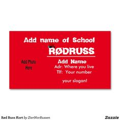 Rød Russ Kort Double-Sided Standard Business Cards (Pack Of 100)