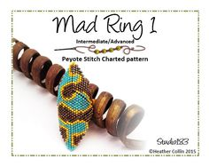 Re-vamped Mad Ring pattern. My ever popular shield shaped, beaded Tribal Rings in a Flat Peyote Bead Weaving Stitch that are quick to bead