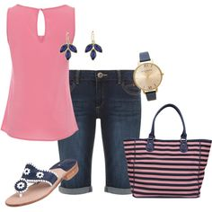 """""""Pink and Navy"""" by cathy0402 on Polyvore"""