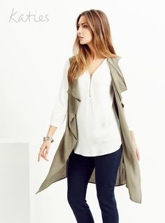 SLEEVELESS BELTED TRENCH / The must-have soft trench goes sleeveless for the ultimate multi-tasking piece. Look new season now by layering over a blouse or under a jacket and take your look from simple to stand-out. Katies Fashion, Trench, Layering, Must Haves, Duster Coat, Passion, Seasons, Blouse, Simple