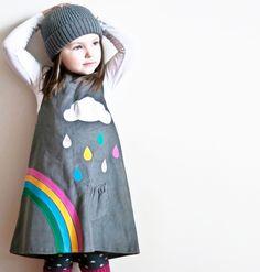 RAINBOW & silver cloud dress (Etsy)