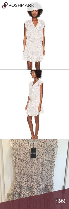 The Kooples Sport Floral Dress Pretty little floral crepe dress by The Kooples that is so easy to wear! Perfect for spring and summer. Comes with a slip, adjustable tie at the waist, layered ruffled skirt, frayed hem. Size 2 = S/M The Kooples Dresses Mini