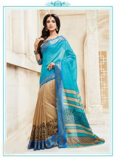 Sky Blue Cotton Silk Saree