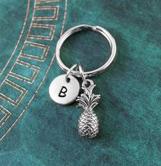Pineapple Keychain VERY SMALL Pineapple Keyring Silver