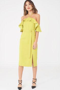 e0533d97196d Bardot Draped Frill Midi Dress with Side Split in Lime