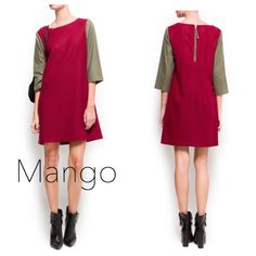 Mango Contrast Color Block Dress ️Perfect fall winter dress from Mango. Straight cut dress with exposed zipper in back. Contrast burgundy and olive colors. Size xs. True to size. Polyester wool acrylic blend. 33 inches from shoulder to hem. Has underskirt. Never worn out just tried on. Mango Dresses Long Sleeve