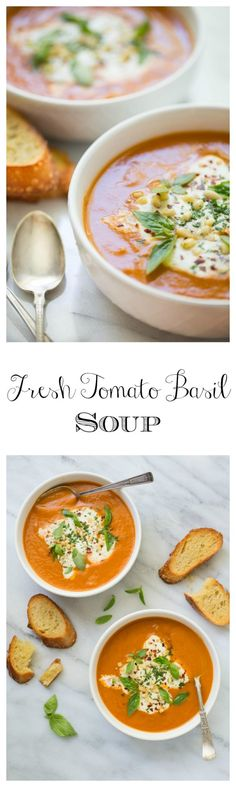 Fresh Tomato Basil Soup - there's nothing quite like tomato soup made from fresh tomatoes. Once you try it, you'll never want it any other way!