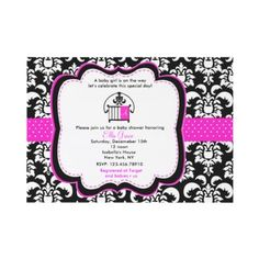Damask Monograme baby shower invitations by LittleSeiraStudio