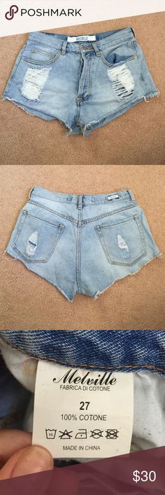 Brandy Melville High Waisted Shorts A cute pair of shorts perfect for the summer! Worn a handful of times. Authentic Brandy Melville shorts. Brandy Melville Shorts Jean Shorts