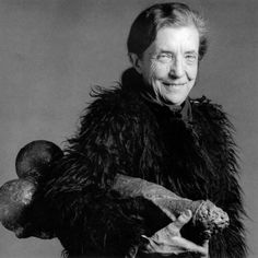 """Louise Bourgeois French-American, artist and her sculpture """"Fillette"""", Photo by RoBert Mapplethorpe. The intention of the photo shoot was to produce a portrait for her exhibition at MOMA. Robert Mapplethorpe, Louise Bourgeois Art, Celebrity Portraits, American Artists, Les Oeuvres, Art History, Famous People, Contemporary Art, Modern Art"""