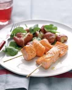 salmon skewers with smashed red bliss potatoes -> eat the skins, its the healthiest bit.