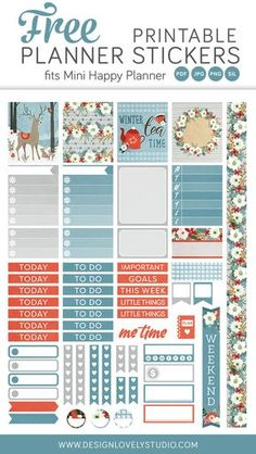 Beautiful free printable planner stickers kit including cut files!