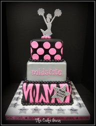cheer cake ideas | Cheer cake with team names all around the bottom, too cute!