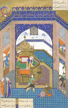 Arts of the Islamic World | Folio from a <i>Shahnama</i> (Book of kings) by Firdawsi; recto: text, Faridun captures Zahhak; verso: Faridun strikes Zahhak with the ox-headed mace | F1996.2