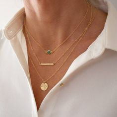 Delicate Gold Necklace Set. A set of 3 delicate gold layering necklaces - save 20% on the individual price of each necklace. A beautiful set of 3 gold delicate layering necklaces (in varying lengths) that can be worn together, individually or paired with your own jewellery for a unique look.