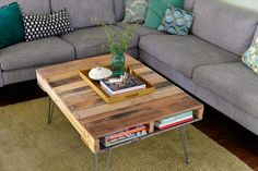 Pallet Coffee Table With Metal Hairpin Legs