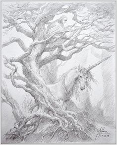 Tree & Unicorn by John Howe Drawing from The Hobbit
