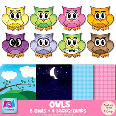 ($) Adorable Owl Clip Art    Four backgrounds are included to compliment the owls.    Contents:  * 8 owls including Mr. Tuxedo and Ms. Genius - see thumbnails (8 png images, 8 jpg images)  * 4 background papers including a day scene (see thumbnail) and a night scene - (in png and jpg format)  * UPDATE: 4 black & white owls (4 png images, 4 jpg images)
