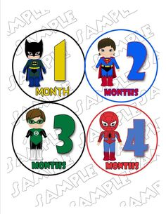 diy SUPERHERO monthly onesies for boys | Superhero Monthly Onesie Stickers Batman Superman Spiderman Green ...
