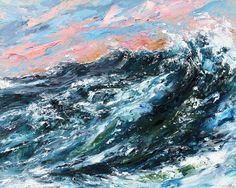 Mixed Media ocean wave painting by Vancouver artist Tiffany Blaise. This original artwork was created using a palette knife, oil paint and cold wax with impasto layers. Ocean Wave Painting, Sky Painting, Pour Painting, Seascape Paintings, Mixed Media Painting, Texture Painting, Texture Art, Landscape Paintings, White Shadow Box