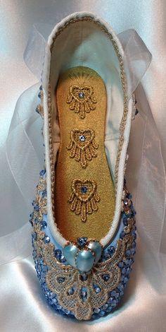 Beautiful Cinderella pointe shoe by DesignsEnPointe
