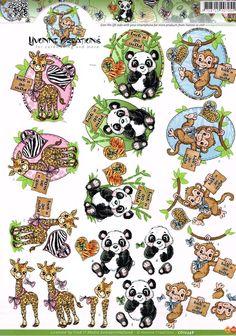 3 D Sticker Ausschneide Bogen   Dschungel Tiere   CD 10348
