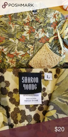 Jean jacket style EUC 100% Cotton lightweight casual jacket, pockets have been tacked to stream line fit, beautiful fall colors. Sharon Young Jackets & Coats