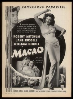 Robert Mitchum Jane Russell Photos Macao Movie Promo Print AD 1952