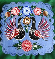 Folk Gorodets painting from Russia. Floral pattern with two peacocks. #art #folk…