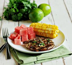 Grilled Pork Chops with Cilantro Garlic Lime Sauce - one of our favorite ways to cook pork chops!
