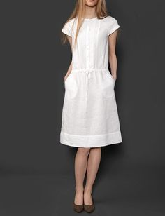 White linen dress with lace, decorated pure linen dress, linen clothing, linen clothes, woman summer clothing Simple Outfits, Simple Dresses, Nice Dresses, Casual Dresses, Fashion Dresses, Summer Dresses, White Linen Dresses, White Dress, Feminine Mode