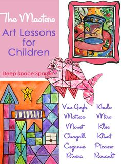 Art projects to do in the classroom. Teach the Masters- Art Lessons: A Round-Up of lessons from Deep Space Sparkle that focus on the Masters. Art Lessons For Kids, Art Lessons Elementary, Art For Kids, Henri Matisse, Georgia O'keeffe, Classe D'art, Artist Project, Ecole Art, School Art Projects