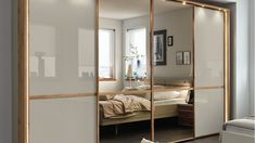 Stylform CASSIOPEA - 250/300cm Oak & Champagne Glass Sliding Door Wardrobe