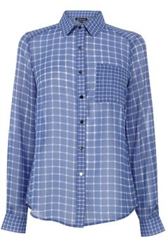 Tops | Blue Mixed Check Shirt | Warehouse
