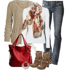 Fall Fashion. I'm loving the scarves, sweaters and the white long sleeve shirt! :)