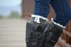 Charcoal Gray lacey Boot Sock- Women's size