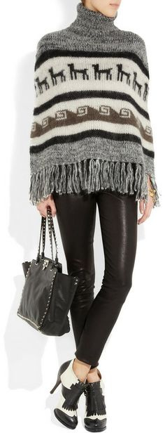 Peruvian Inspired Mohair and Wool Blend Poncho by Joseph.
