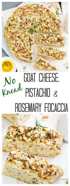 No Knead Goat Cheese, Pistachio & Rosemary Focaccia - Seriously Easy ...