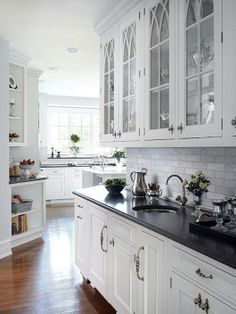 Supreme Kitchen Remodeling Choosing Your New Kitchen Countertops Ideas. Mind Blowing Kitchen Remodeling Choosing Your New Kitchen Countertops Ideas. Glass Front Cabinets, White Kitchen Cabinets, Kitchen Redo, New Kitchen, Dark Cabinets, Black Countertops White Cabinets, Glass Cabinet Doors, Shaker Cabinets, Kitchen Ideas