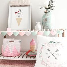 PRETTY PASTELS  #girlsroom #girly #pastel #personalised #cushion #crochet #wood #interior #girlsinterior #pastelroom #myhome #myinterior #supportsmallau #handmade #mystyle #kmartaus #kmart #kmartstyling