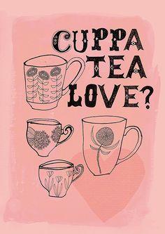 Cuppa Tea Love Archival art print by lovelysweetwilliam on Etsy