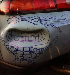 Car dent turned ninja turtle