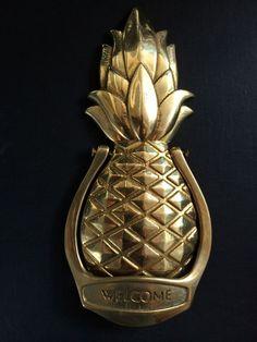"""Vintage Solid Brass Door Knocker – Pineapple design """"Welcome"""""""