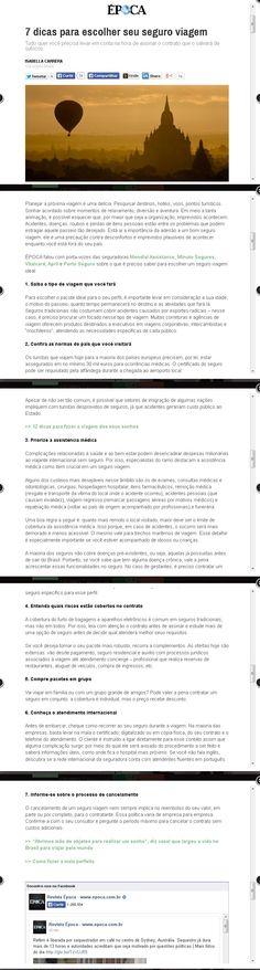 Título: 7 dicas para escolher seu seguro viagem. Veículo: ÉPOCA. Data: 15/12/2014. Clientes: April e Mondial.