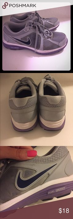 Nike tennis shoes Gray and light purple Nikes, very unique,  these have been worn a lot but are completely intact just a few cosmetic scuffs here and there Nike Shoes Sneakers