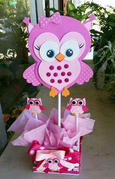 Adorable pink owl baby shower centerpieces by bettysgiftsandrafts: Owl Themed Parties, Owl Parties, Owl Birthday Parties, Owl Centerpieces, Baby Shower Centerpieces, Baby Shower Parties, Baby Shower Themes, Baby Shower Gifts, Baby Showers