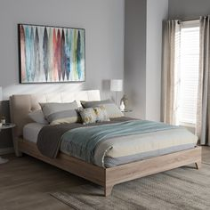 ab5a15eb147 Baxton Studio Adelia Mixed Media Upholstered Bed Bed Styling